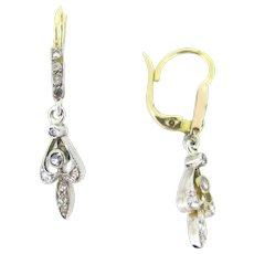 Antique French Diamonds Dormeuses / Earrings, 18kt gold and platinum, circa 1910