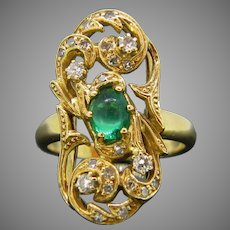 French Emerald Cabochon and Diamonds Ring, 18kt Yellow Gold