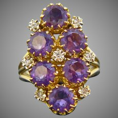 French Retro Amethysts and Diamonds Ring, 18kt Yellow Gold