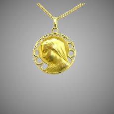 Art Nouveau Religious Gold Medal by E. Dropsy, France, circa 1900