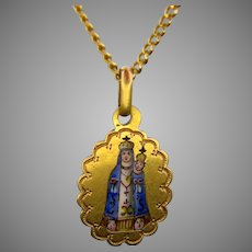 Early 20th century Enamel Virgin and the Child Fourviere Pendant, 18kt Yellow Gold, France