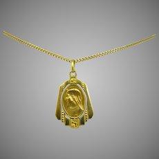 Early 20th century Sancta Maria Religious Medal Pendant, France, circa 1915