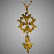 Mid 20th century Holy Spirit Dove Huguenote Pendant, 18kt Yellow Gold, France