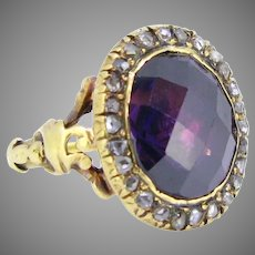 Antique Georgian Amethyst Rose cut Diamods Cluster ring, early 19th century