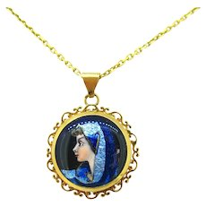 French Enamel Pendant 18kt gold, early 20th century, France
