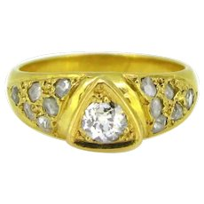 Vintage Gypsy Diamonds Band Ring, 18kt Yellow Gold, France