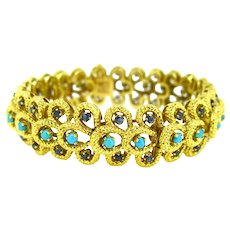 French Retro Turquoises and Sapphires Bracelet, 18kt Yellow Gold, circa 1970