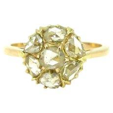 Vintage Rose cut Diamonds Cluster Daisy Ring, 18kt rose gold