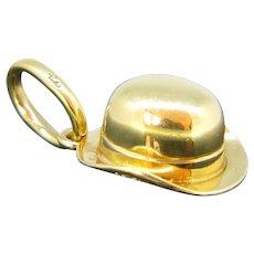 Vintage Pomellato Bowler Hat Charm Pendant, 18kt Yellow Gold