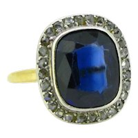 Vintage Sapphire Verneuil & Rose Cut Cluster Ring, 18kt Yellow Gold and Platinum, circa 1940