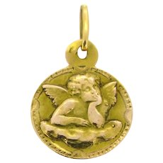 Early 20th Century Cherub Medal Pendant, 18kt yellow and rose Gold, France