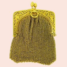 Antique Art Nouveau 18kt gold Mesh Purse, France, circa 1900