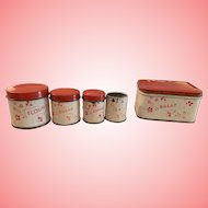 Vintage tin canister set for Dolly