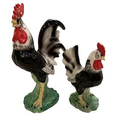 Vintage Large Rare black and white chickens