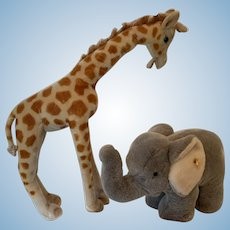 Vintage steiff giraffe and elephant