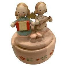 Tiny wooden German angel box