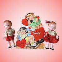 Vintage knickerbocker hard plastic valentine twins