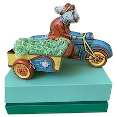 Vintage rare Wyandotte Easter bunny delivery on motercycle