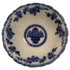 Beautiful English Flow blue basket bowl, madras pattern