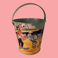 Vintage Disney Chein Mickey at the beach tin pail
