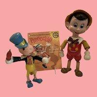 Rare Disney Pinocchio and Jiminy cricket from ideal