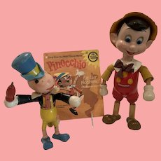 Rare Disney Pinocchio and Jiminy cricket from ideal