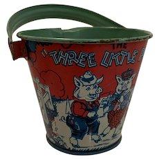 Early tin chein 3pigs Disney pail