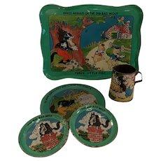 Disney 3 pigs tin tea set pieces.