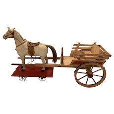Fabulous Antique horse and wooden wagon