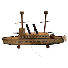 Rare Antique Bliss or Reed paper litho toy boat