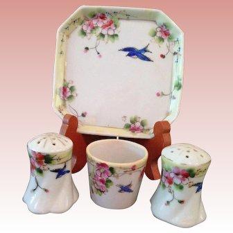 Vintage handpainted Bluebird salt set