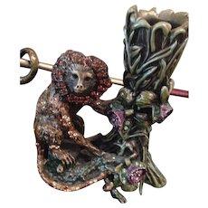 "Mint Jay Strongwater monkey candleholder! 5""tall"
