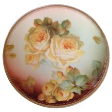 Lovely Sevres Bavaria yellow rose plate