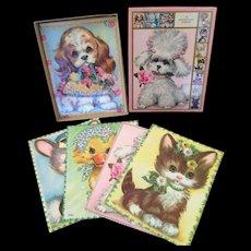 Vintage Pet Set Coby greeting cards, unused