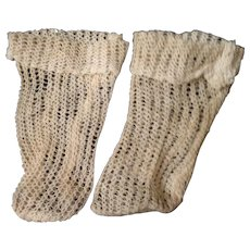 Antique French cream cotton loose knit socks.