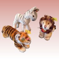 Steiff Tiger, Lion and Zebra, small
