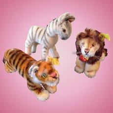 Steiff Tiger, Lion and Zebra, small