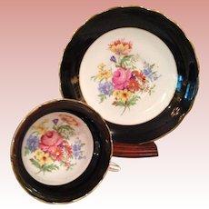 Vintage Rosina , Black rimmed Cup & Saucer