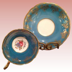 Vintage Aynsley Peacock blue Cup & Saucer
