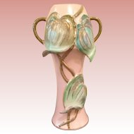 Vintage  folded leaves Art Vase