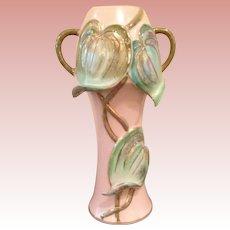 Vintage  folded leaves Art Vase
