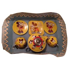 Wonderful 1950's Mickey Mouse tin toy Tea Set