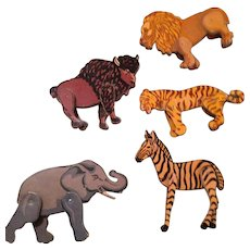 Vintage jointed cardboard Zoo or Circus ANIMALS