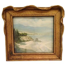 "Vintage  "" Along  the coast of California "" print in Art Nouveau frame"