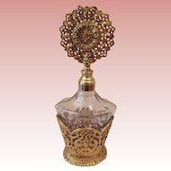 Vintage gold tone and glass Perfume bottle