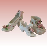 Vintage Japan china Shoes with Applied Roses