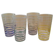 Vintage set of ringed drinking glasses.