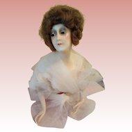 Unusual Vintage Large Wax Half Doll