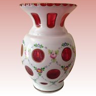 Gorgeous vintage Czech Ruby with milk glass overlay Vase