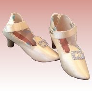 Vintage Cream Cloth bed Doll Shoes.